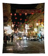 China Town At Night Tapestry by Linda Woods