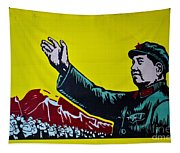 Chinese Communist Propaganda Poster Art With Mao Zedong Shanghai China Tapestry