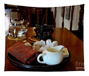 Chinese Tea Pot Cups Towel Tray And Plates Tapestry