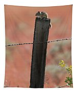 Chipmunk On Fence Post Tapestry