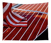 Chris Craft With American Flag Tapestry