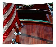Chris Craft With Flag And Steering Wheel Tapestry