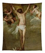 Christ Attended By Angels Holding Chalices Tapestry