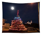 Christmas At Maines Nubble Lighthouse Tapestry
