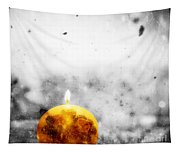 Christmas Ball Candle Lights On Winter Background Tapestry