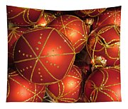 Christmas Balls In Red And Gold Tapestry