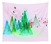 Christmas Blues And Greens Tapestry