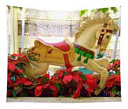 Christmas Carousel Horse With Poinsettias Tapestry