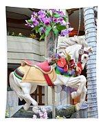 Christmas Carousel White Horse Tapestry