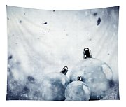 Christmas Glass Balls On Winter Vintage Background Tapestry