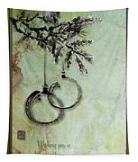 Christmas Greeting Card With Ink Brush Drawing Tapestry