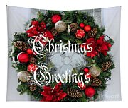 Christmas Greetings Door Wreath Tapestry