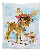 Christmas Reindeer And Rabbit Tapestry