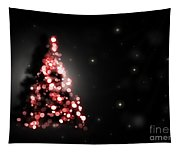Christmas Tree Shining On Black Background Tapestry