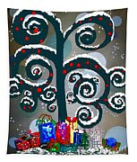 Christmas Tree Swirls And Curls Tapestry