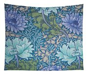 Chrysanthemums In Blue Tapestry