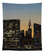 Chrysler And Un Buildings Sunset Tapestry