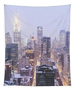 Chrysler Building And Skyscrapers Covered In Snow - New York City Tapestry