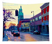 Church Street In Winter Melting Snow Sunset Reflections Montreal Urban City Landscape Scene Cspandau Tapestry