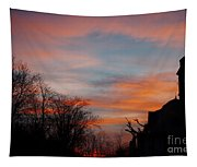 Church With Orange Sky Tapestry
