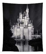 Cinderella's Castle Reflection Black And White Tapestry