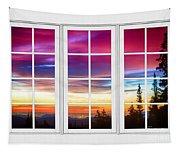City Lights Sunrise View Through White Window Frame Tapestry