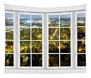 City Lights White Window Frame View Tapestry