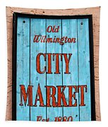 City Market Sign Tapestry