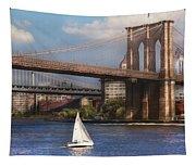 City - Ny - Sailing Under The Brooklyn Bridge Tapestry