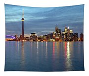 City Skyline At Dusk From Centre Tapestry