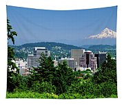 City With Mt. Hood In The Background Tapestry