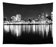Cityscape In Black And White - Philadelphia Tapestry