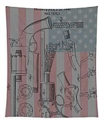 Civil War Revolver American Flag Tapestry