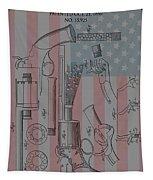 Civil War Revolver American Flag Tapestry