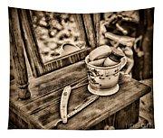 Civil War Shaving Mug And Razor Black And White Tapestry