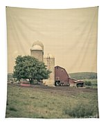 Classic Farm With Red Barn And Silos Tapestry