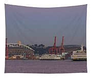 Classic Full Moon And Ferries Panorama Tapestry