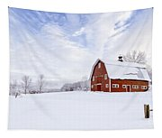 Classic New England Red Barn In Winter Tapestry