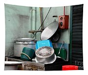Clean Pots And Pans On Outdoor Sink Tapestry