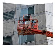 Cleaning Skyscraper Window And Wall With Snorkel Singapore Tapestry