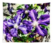 Clematis On A Stone Wall Tapestry