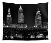 Cleveland Black And White Night Tapestry