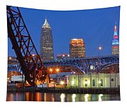 Cleveland Blue Hour Panoramic Tapestry