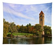 Clocktower And Autumn Colors Tapestry