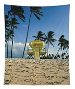 Closed Lifeguard Shack On A Deserted Tropical Beach With Palm Tr Tapestry