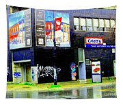 Closing Time Montreal Factory Glatts Produits Quebec Meats Graffiti Art City Scenes Carole Spandau Tapestry