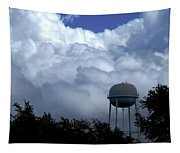 Clouds Around The Water Tower Tapestry