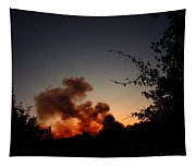 Clover Fire At Night Tapestry