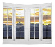 Co Mountain Gold View Out An Old White Double 16 Pane White Window Tapestry