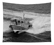 Coast Gaurd In Action In Black And White Tapestry